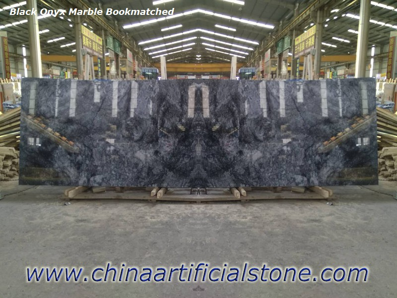 Turkey Black Onyx Marble Bookmatched Slabs