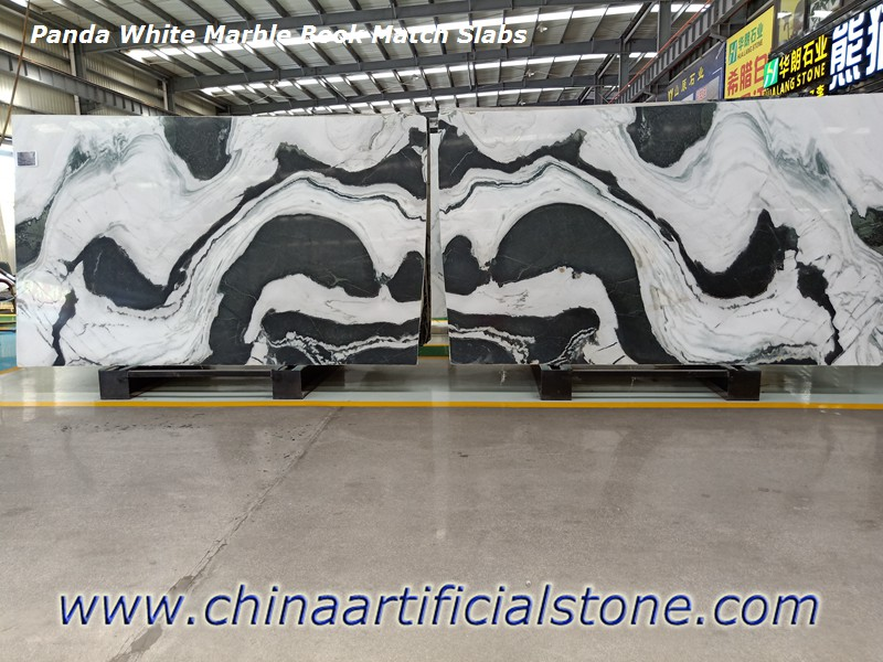China Panda White Marble Book Matched Slabs
