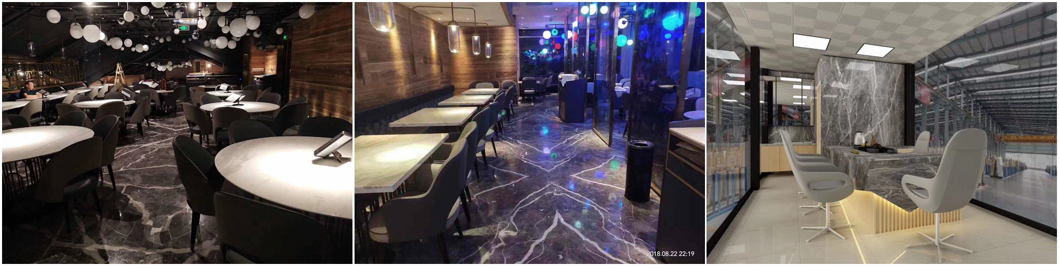 Carso Grey Marble Bookmatch Tiles for Restaurant Flooring