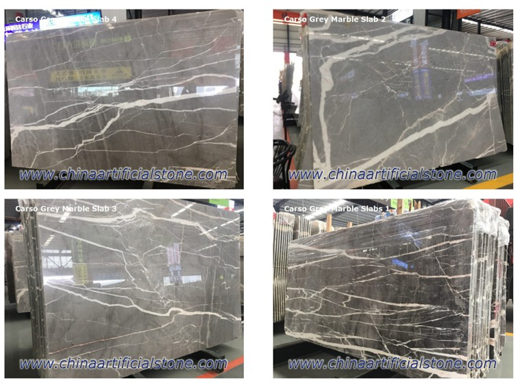 China Carso Grey Marble Slabs Tiles with White Veins