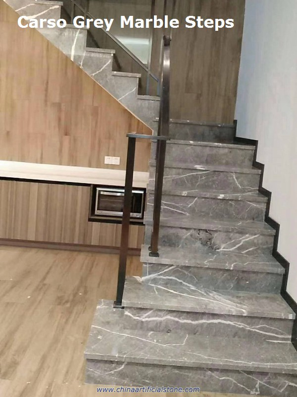 China Carso Grey Marble Step with white veins