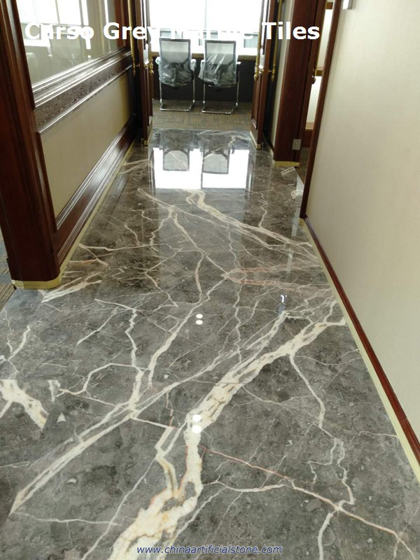 Carso Grey Marble Flooring Tiles with White Veins patterns