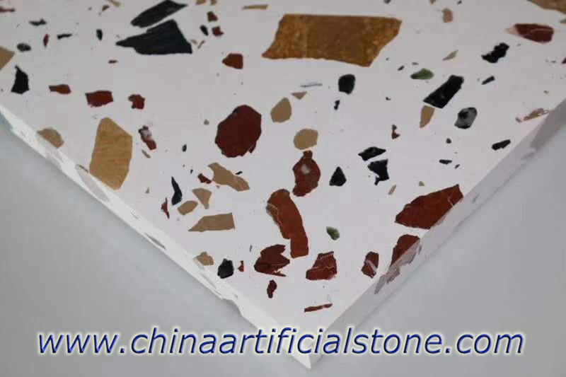 large Aggregate Multicolor White Terrazzo Floor Tiles
