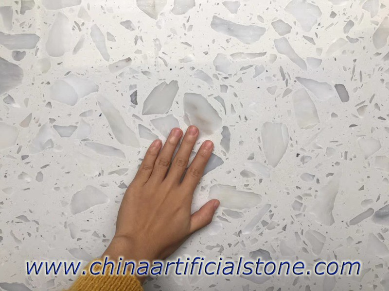 Big aggregate White Terrazzo Slabs for Countertops