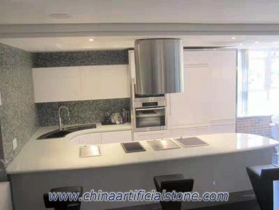 Pure White Recycled Glass Stone Kitchen Countertop