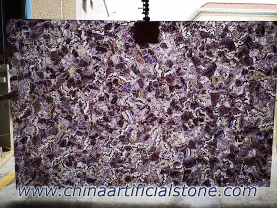 Amethyst Purple Gemstone Slabs and Wall Tiles