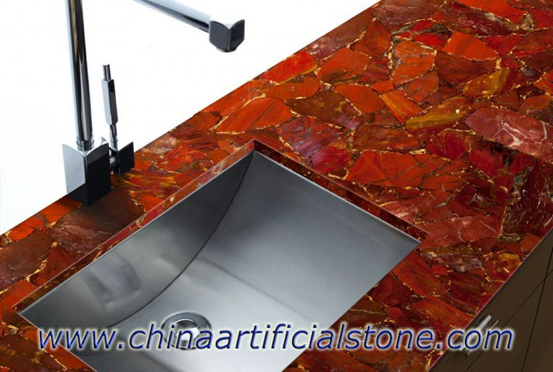 Red Gemstone Marble Tiles Slabs Countertops