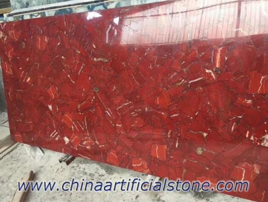 Red Gemstone Marble Tiles Slabs