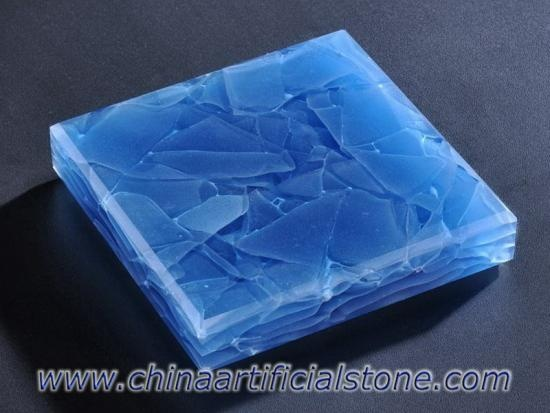 Ocean Blue Engineered Glass Ceramic Glaskeramik Slab