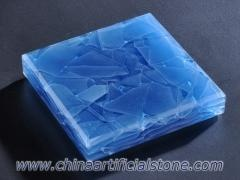 Ocean Blue Jade Glass Stone Engineered Magna Glass Slabs