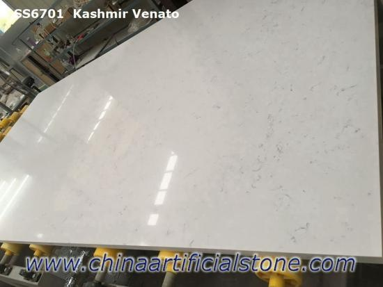 White Carrara Marble Look Quartz Stone Slab