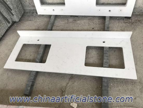 China Top White Carrara Mable Look Quartz Vanity Tops Factory