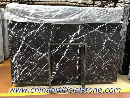 China Nero Marquina Marble Book Matched Slab