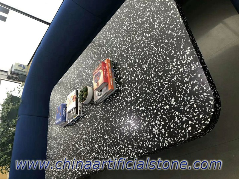 Black Cement Based Terrazzo Worktops Table Tops