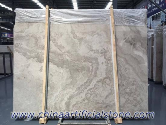 Wooden White Wood Grain Marble Cross Cut Slab Tiles