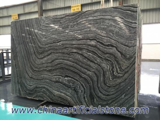 Black Wood Vein Grain Serpeggiante Marble Slab