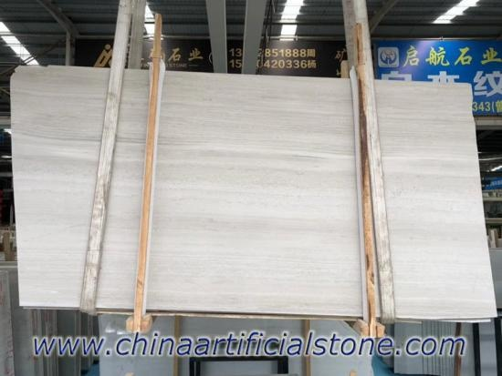 China White Wood Vein Grain Marble Slab