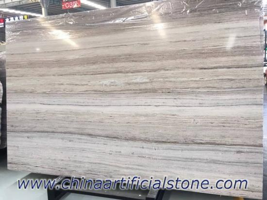 Crystal White Wood Vein Grain Serpeggiante Marble Slab