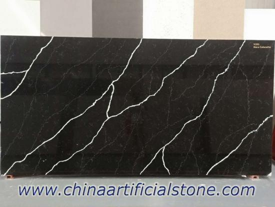 Nero Marquina Midnight Black Calacatta Quartz Slab