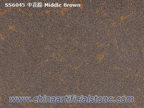 Brown With Gold Veins Quartz  Stone Slabs