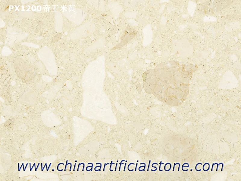 Engineered Grey Marble Slab with Large Marble Aggregate