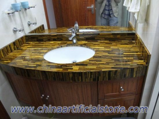 Tiger Eye Gold Bathroom Vanity Top