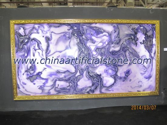 China Top Man Made Purple Faux Onyx Stone Slab Panels Factory
