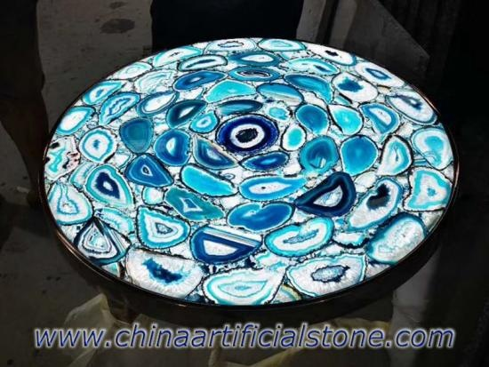 Blue Agate Side Coffee Table Top