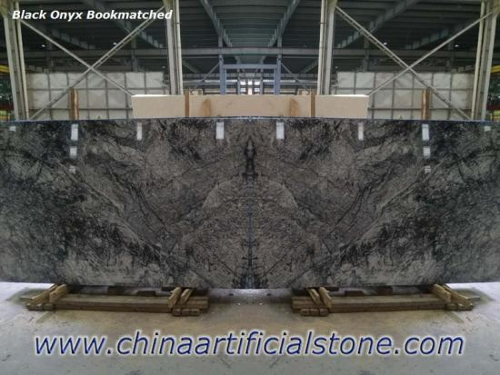 Turkey Black Onyx Marble Bookmatched Slab