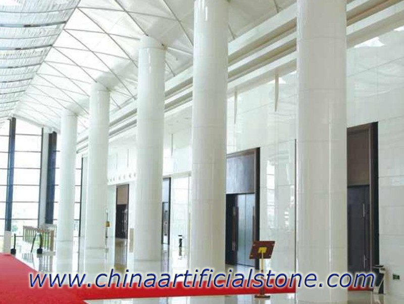 Nanoglass Pure White Nano Marble Granite Glass Columns