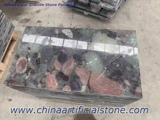 Seven Color Stone Natural Green Pebble Granite Tiles