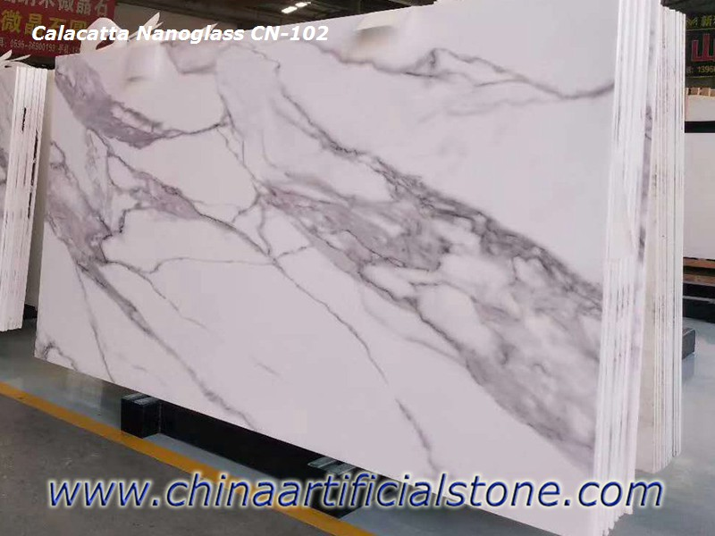 Calacatta White Nano Glass Slabs CN102