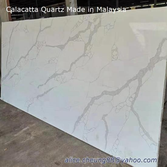China Top Calacatta Laza Quartz Slabs made in Malaysia Factory