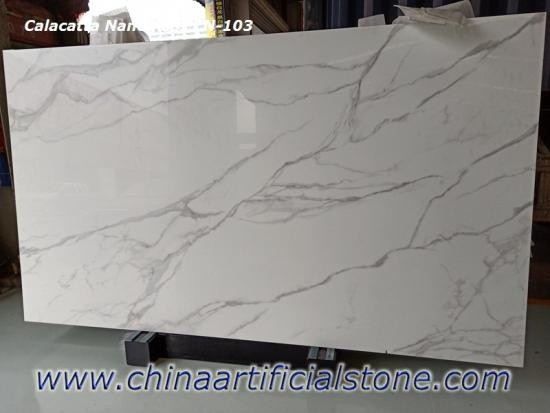 Engineered Calacatta Nano Marble Glass Slab CN103