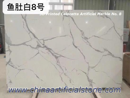 3D Printed Calacatta White Artificial Marble Slab