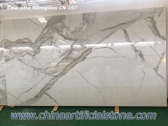 China Nano Calacatta White Marble Slab CN107