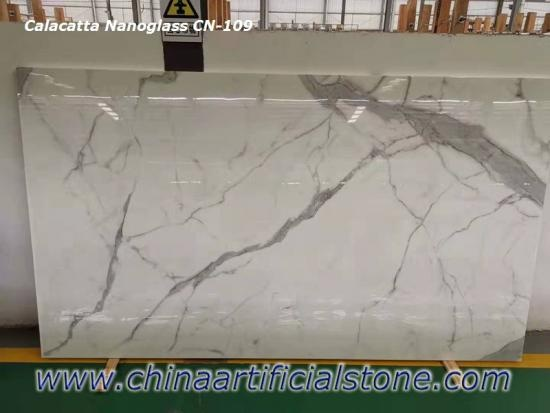 China Calacatta Nano Crystallized Glass Stone Slabs CN109