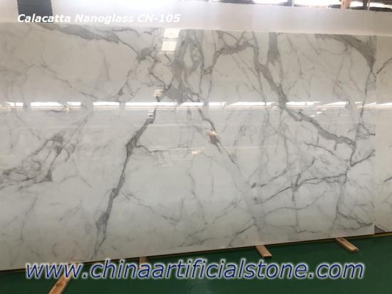 Engineered Statuario Nanoglass Marble Slabs CN105