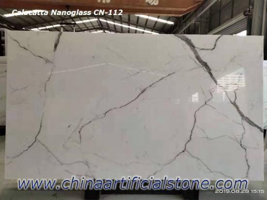 Booked Matched Nano Calacatta White Marble Slabs CN112