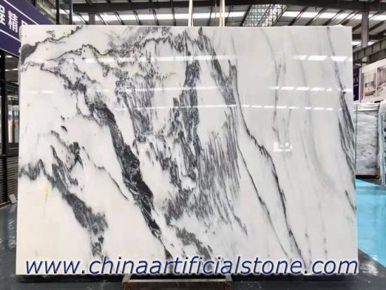 China White Ink Marble Slab White With Black Veins