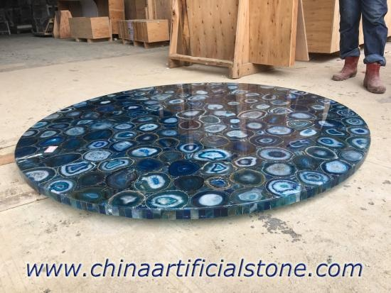 Blue Agate Round Table Top