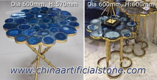 Blue Agate Semi Precious Stone Table Furniture