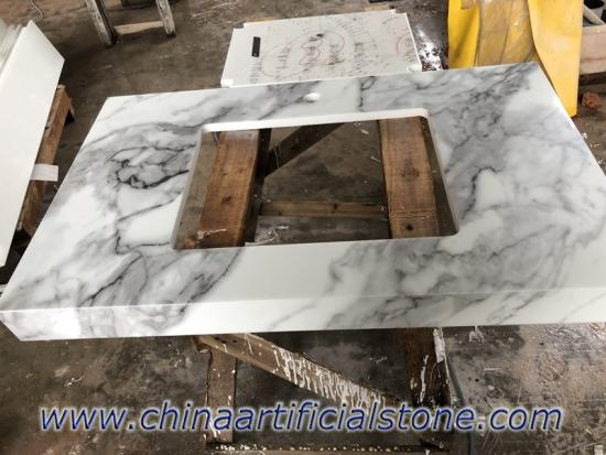 White Marble Look Nanoglass Vanity Top