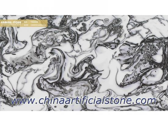 Backlit Black and White Artificial Onyx Sheet TR8008
