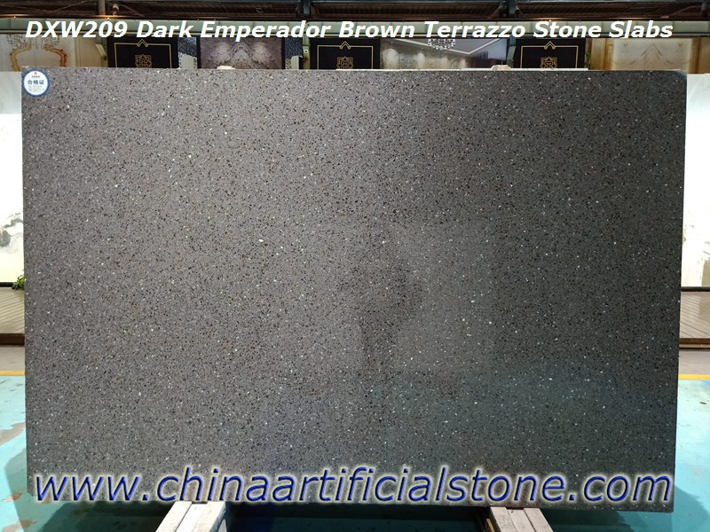 Dark Emperador Brown Terrazzo Tiles and Slabs DXW209