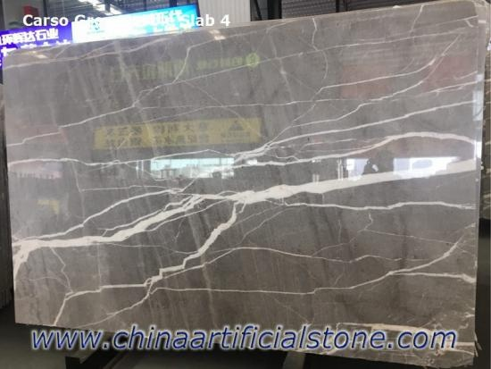 Carso Grey China Marble Slabs with Big White Veins