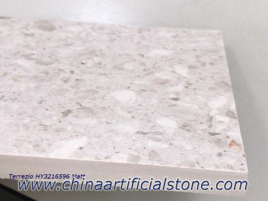 China Top White Terrazzo Sintered Stone Porcelain Slabs 320x160 Factory