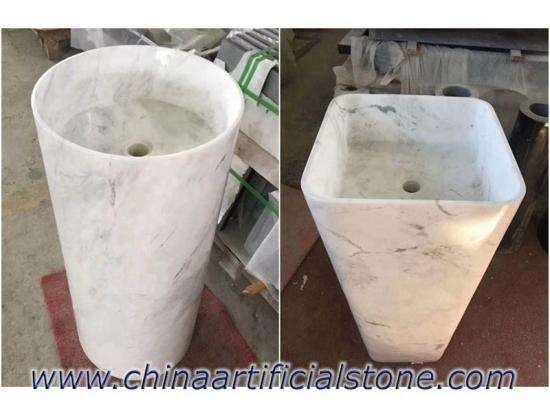 China Top Volakas White Marble Pedestal Sinks 39x39x85cm Factory