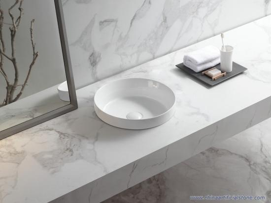 Round Drop-in Porcelain Matt White Washbasin