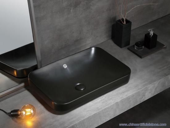 Semi Counter Retangle Matt Green Washbasins